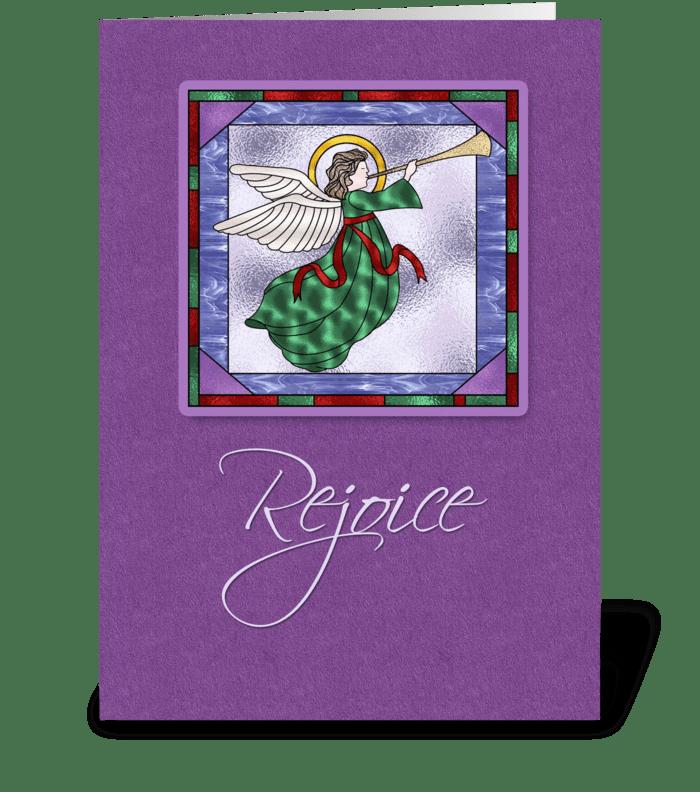 Angel, Rejoice, Purple Christmas   greeting card