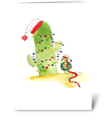 Cactus Christmas greeting card