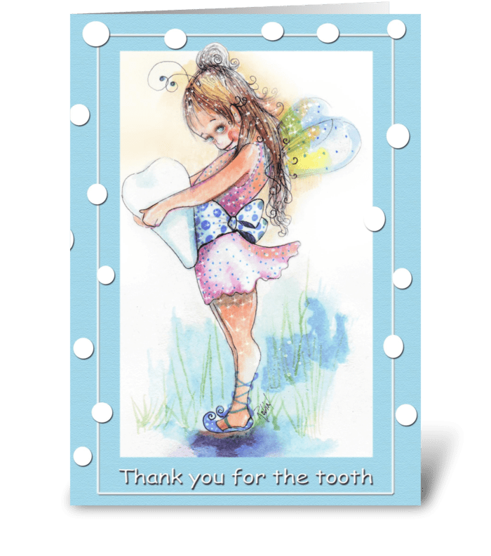 Tooth fairy says thank you greeting card