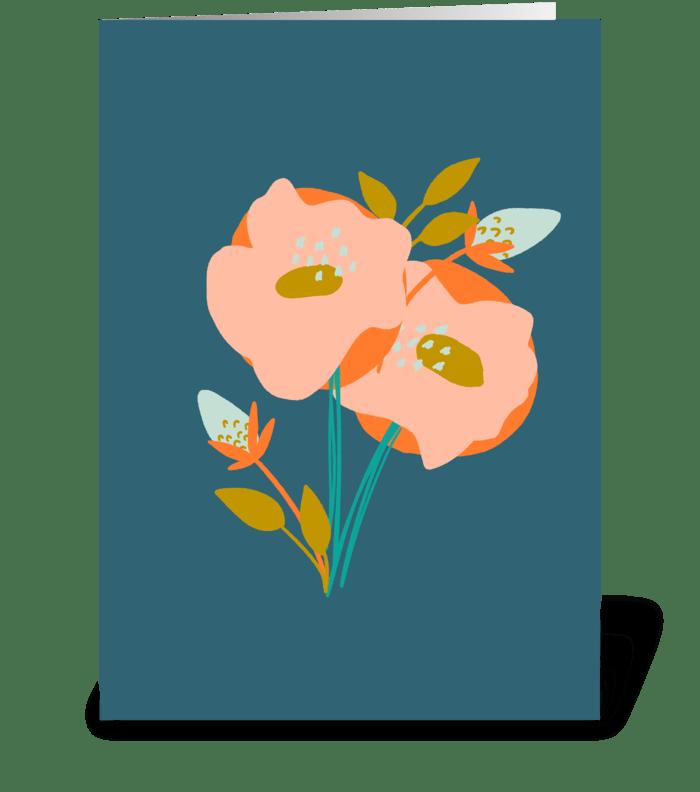 Blush Orange Floral Just Because greeting card