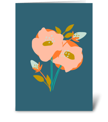 Blush Orange Floral Just Because greeting card