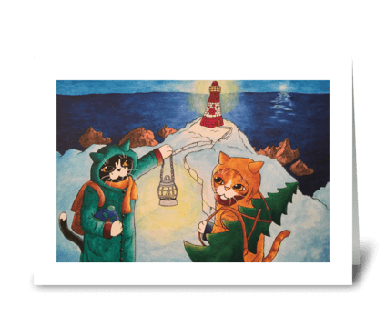 Christmas Lighthouse at Night Cats greeting card