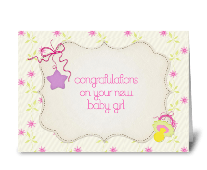 Pink Flowers, Star, Baby Girl, Congrats greeting card