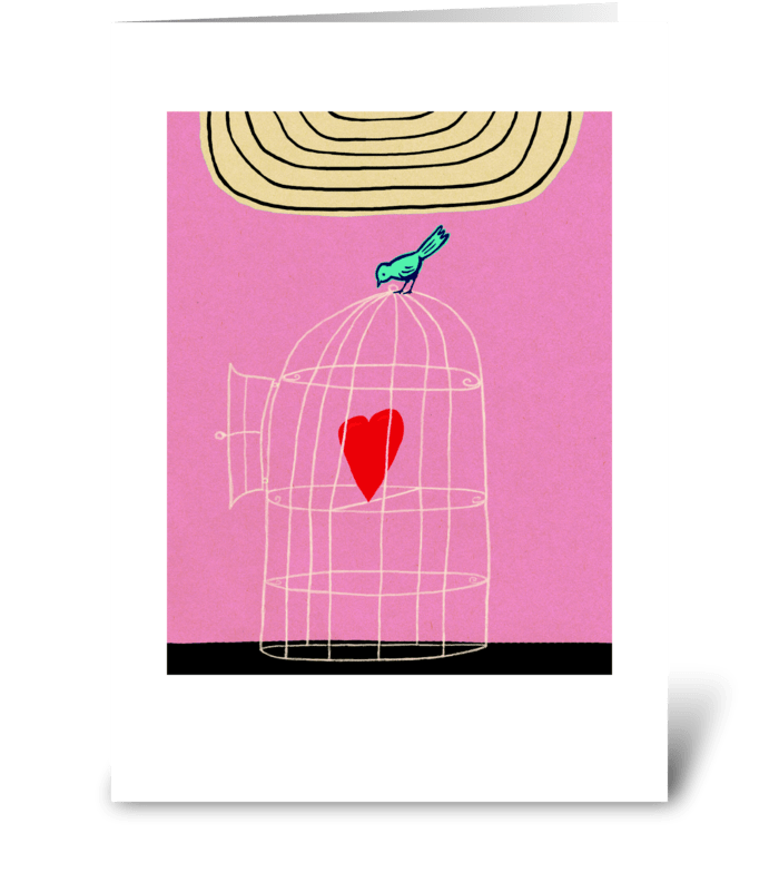 Bird Cage Heart greeting card