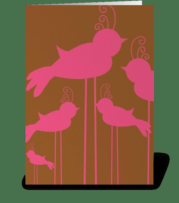 Pink Birds greeting card