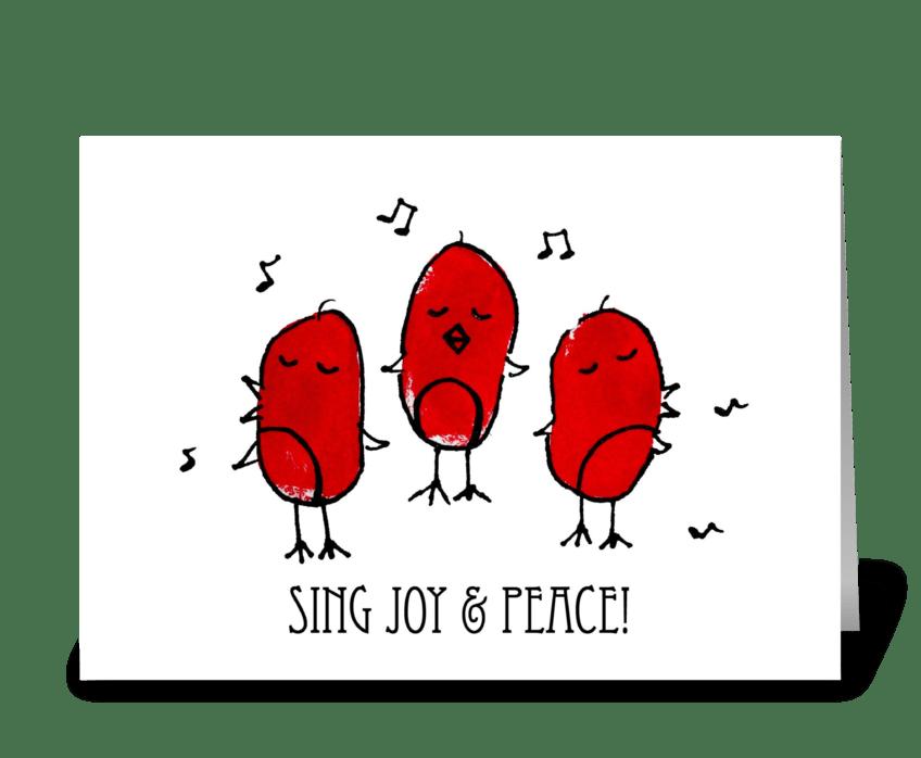 Sing Joy & Peace! Birds greeting card