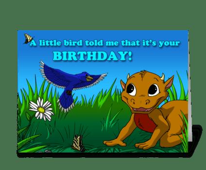 Little Bird (brown dragon) greeting card