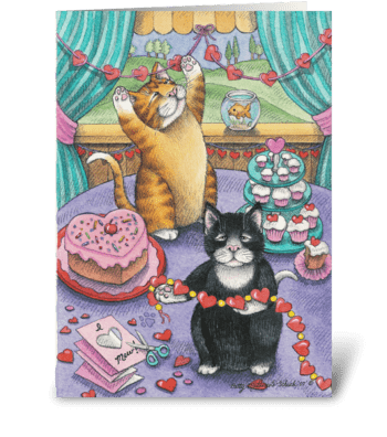 Valentine Cats #14 greeting card
