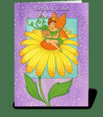 Yellow Flower Birthday Wishes greeting card