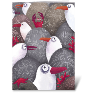 Seagulls on the seashore  greeting card