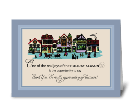 Christmas Town Business Thanks Customer greeting card