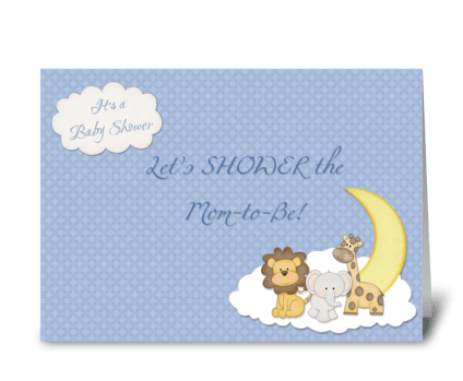 Zoo Animals, Blue Baby Shower Invitation greeting card