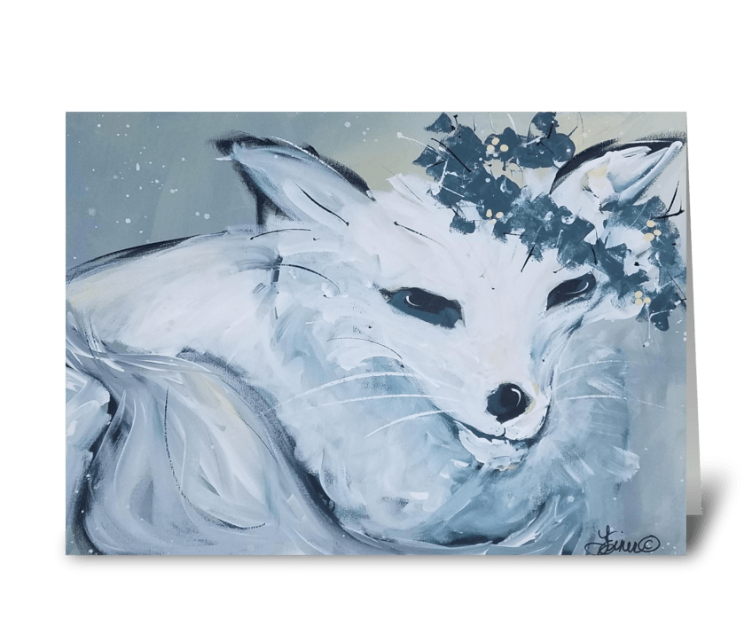 White Fox greeting card