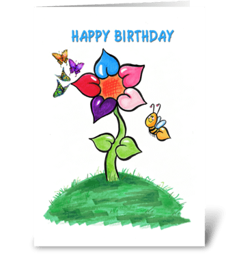 Flower and Bee, Happy Birthday greeting card