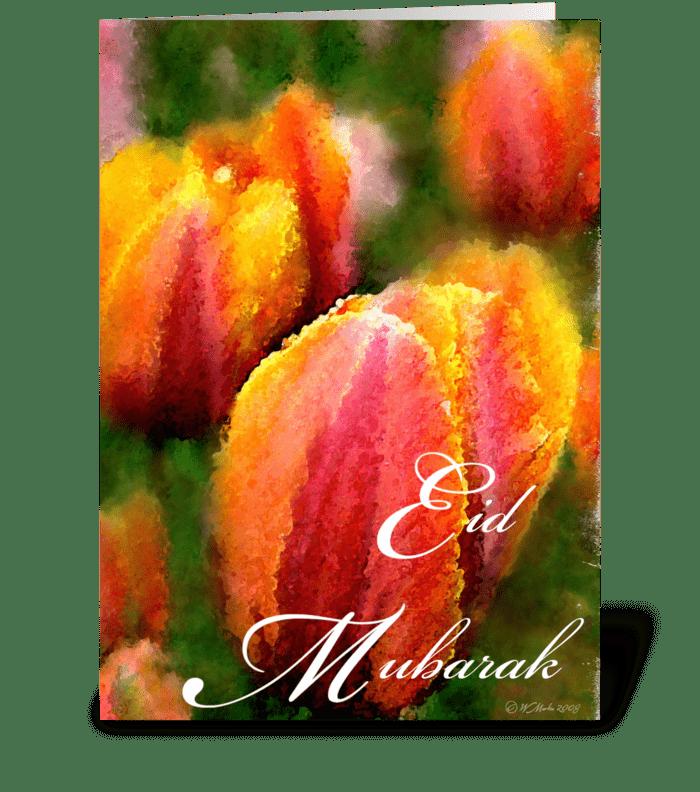 Tulip Flower Eid Mubarak Greeting Card greeting card