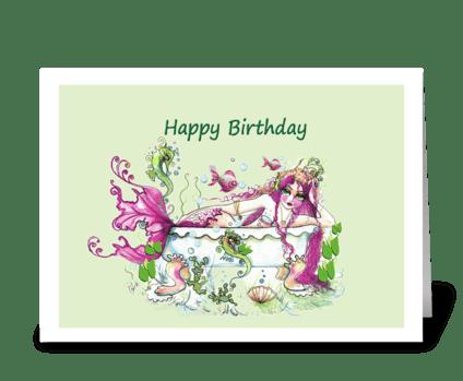 Bathtub and Mermaid, Birthday greeting card