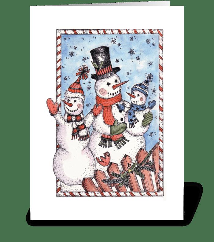 Festive Snowman Family greeting card