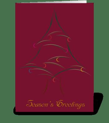 Whispy Christmas Tree greeting card