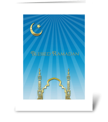 Ramadan, Blue Rays, Gold Mosque greeting card