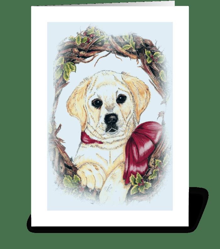 """Christmas Labrador puppy"" greeting card"