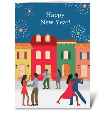 New Year's Dancing in the Street greeting card