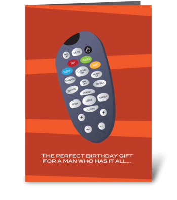 The perfect remote control greeting card