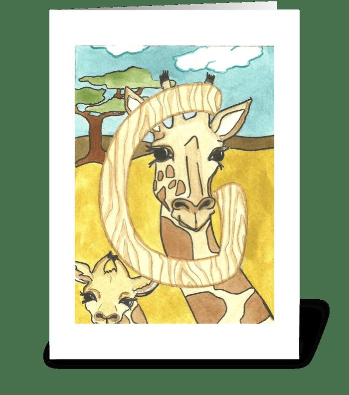 G for Giraffe greeting card