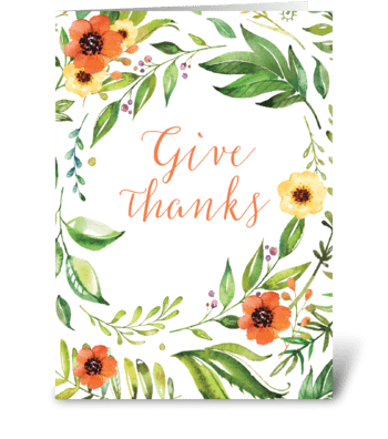 Give Thanks Thanksgiving Wreath greeting card