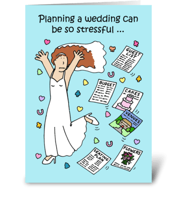 Wedding Planning Stress Cartoon. greeting card