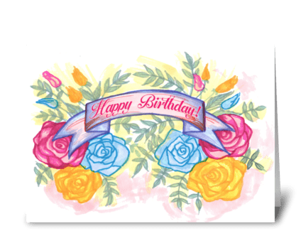 Floral Birthday Roses greeting card