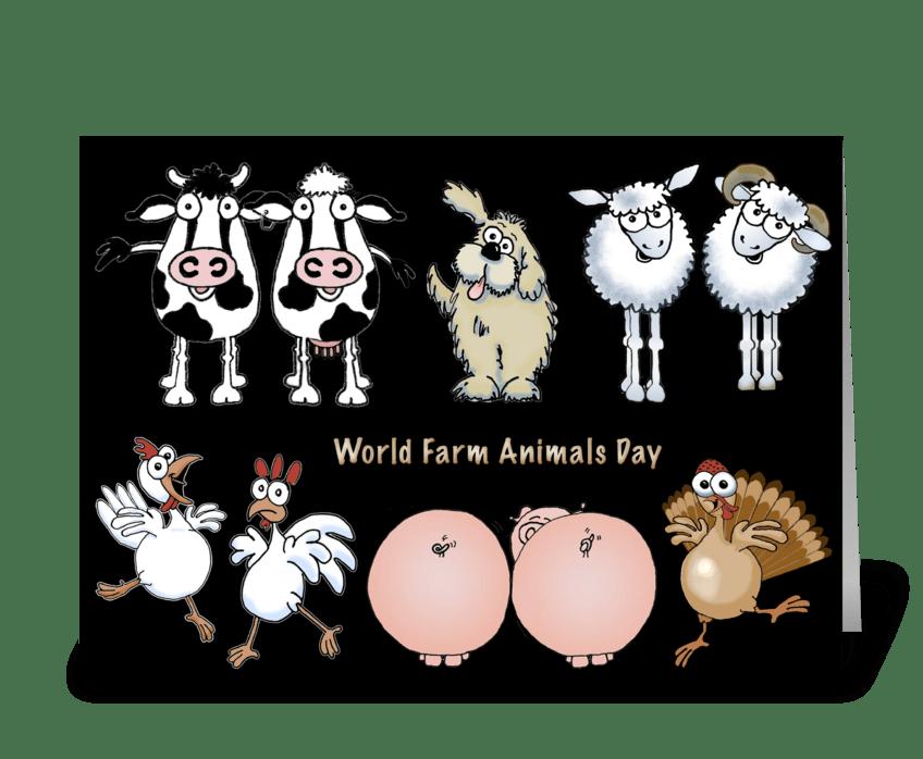 Cartoon Farm Animals greeting card