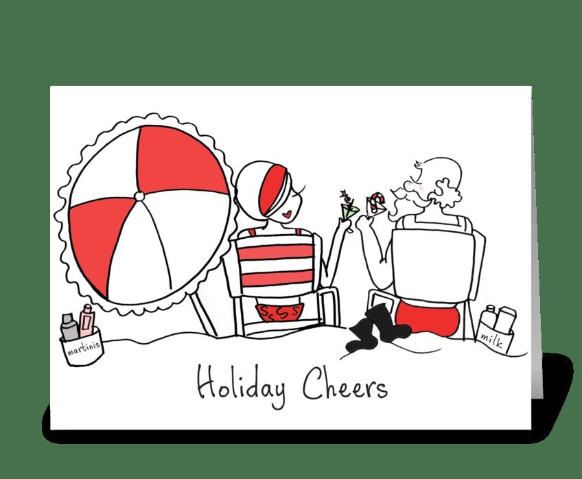 Santa and Sophie Holiday Cheers greeting card