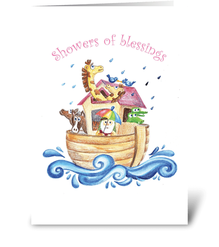 Noah's Ark - Showers of Blessings greeting card