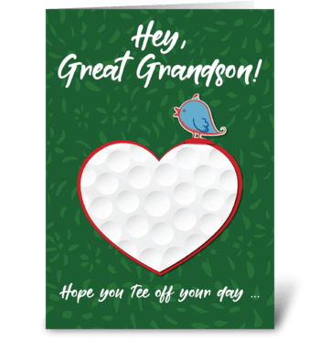 Great Grandson Golf Sports Valentine greeting card