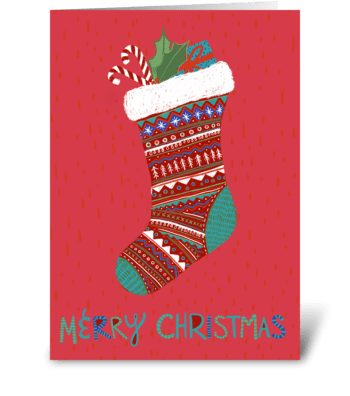 Merry Christmas Stocking greeting card