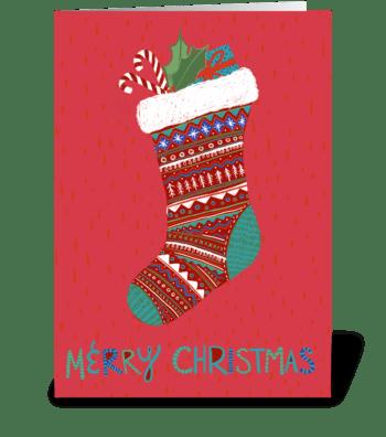 Merry Christmas Stocking greeting card