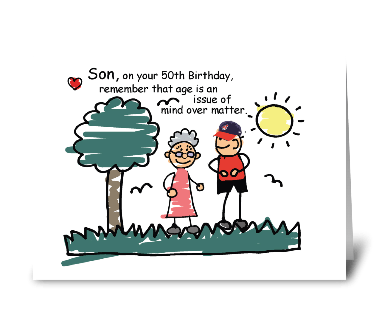 Sensational Son 50Th Birthday Humorous Stick Figures Send This Greeting Card Personalised Birthday Cards Paralily Jamesorg