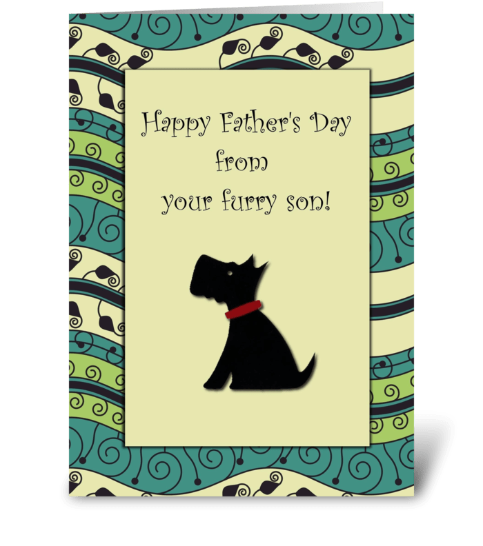 Happy Father's Day Furry Son Dog greeting card
