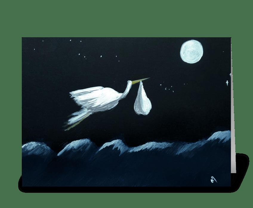 Stork's travel greeting card