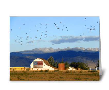 Flag Barn with Birds greeting card