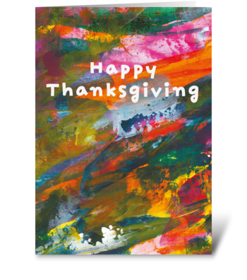 94 Abstract Painting Thanksgiving Card greeting card