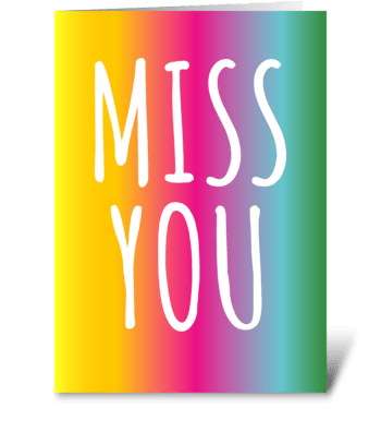 134 Miss You Rainbow Gradient greeting card