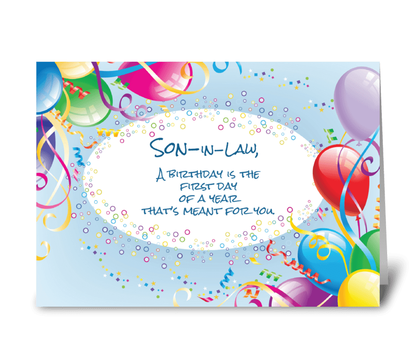 Son-in-Law Birthday Balloons greeting card