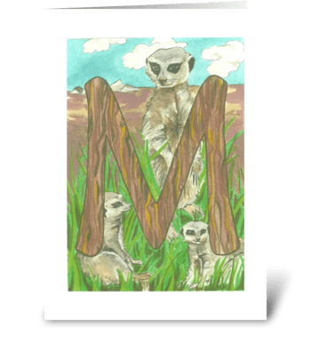 M for Meerkat greeting card