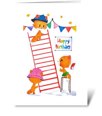 foxes and happy birthday greeting card