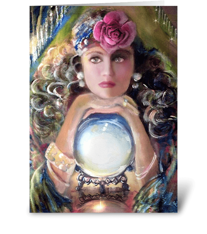 Pretty Gypsy & Crystal Ball greeting card