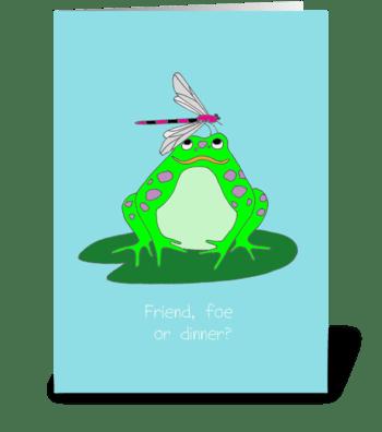 Friend, foe or dinner? greeting card