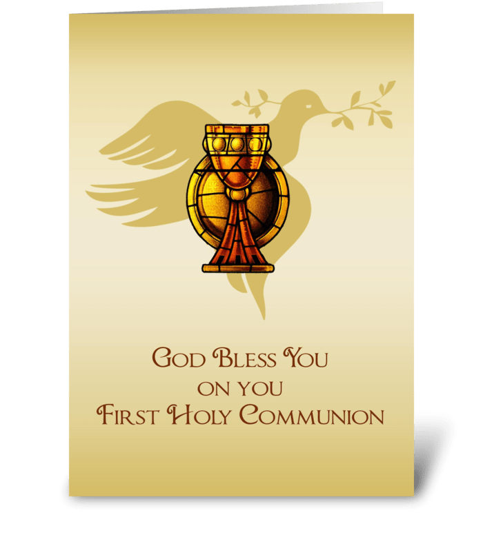 First Communion Gold Chalice Congrats greeting card