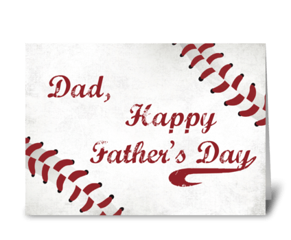 Dad Father's Day Large Grunge Baseball greeting card