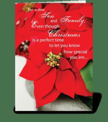 Son & Family Christmas Poinsettia greeting card